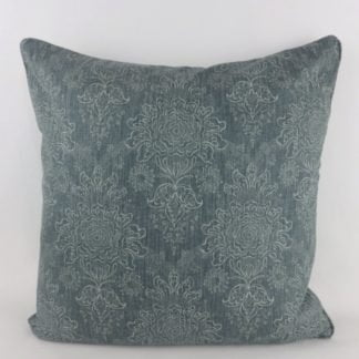 Soft Teal Blue Floral Linen Cushion