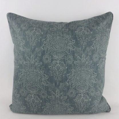 Soft Teal Blue Floral Linen Cushion