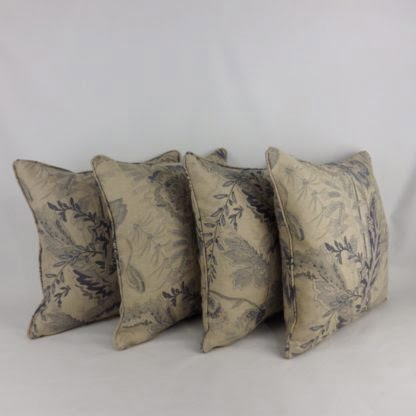 Natural Blue Paisley Floral Linen Cushions