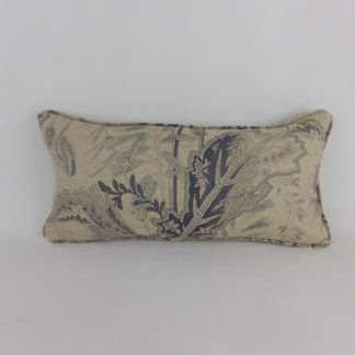 Natural Blue Paisley Floral Linen Bolster Cushion