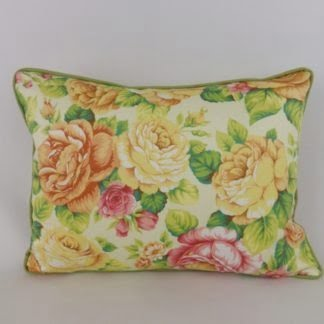 Yellow Green Vintage Rose Floral Cushion