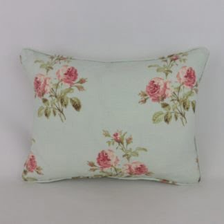 Duck Egg Blue Pink Rose Cushion