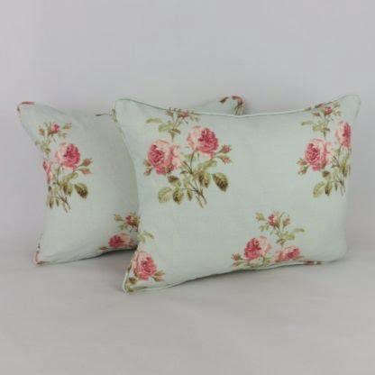 Duck Egg Blue Pink Rose Cushion