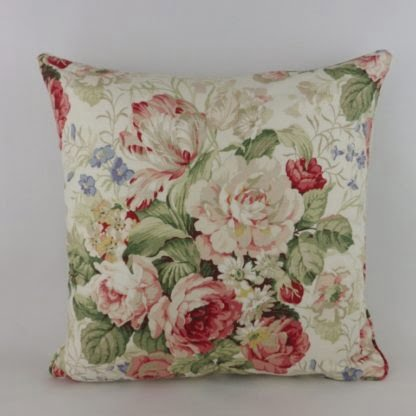 Raspberry Red Vintage Floral Dogtooth Check Cushion