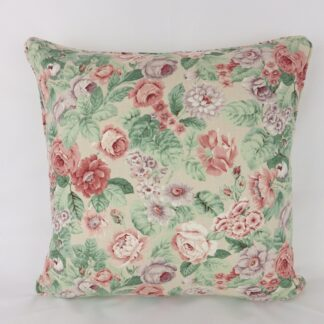 Raspberry Red Large Vintage Floral Cushion
