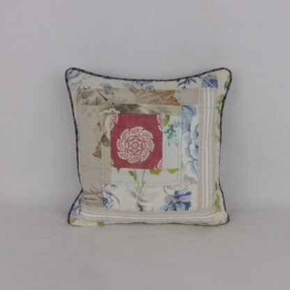 Blue Red Natural Linen Patchwork Cushion