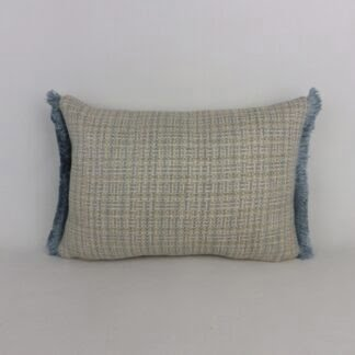 Blue Grey Fringe Cushion