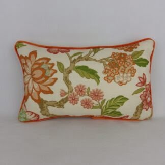Orange Velvet Piped Floral Linen Cushion