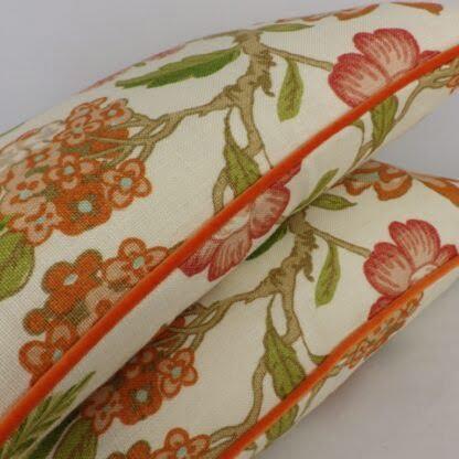Orange Velvet Piped Floral Linen Cushion