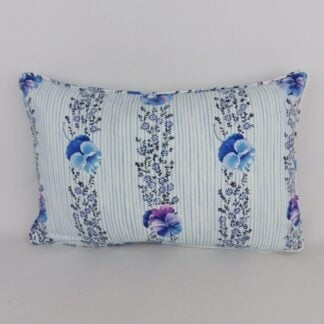 Pansy Floral Blue White Stripe Cushion