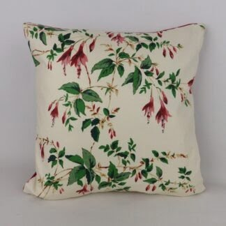 Vintage Red Trailing Fuchsia Floral Cushion