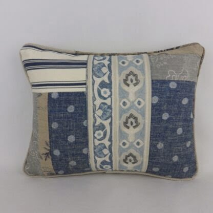 Blue Natural Linen Patchwork Cushion