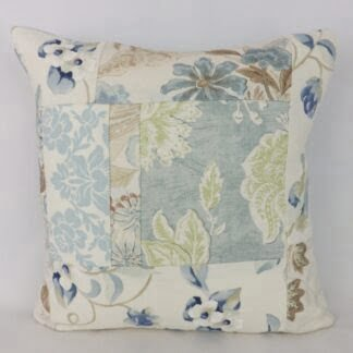Large Blue Floral Linen Patchwork Cushion