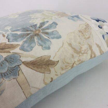 Large Blue Floral Linen Patchwork Cushion