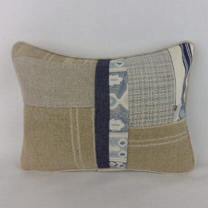 Blue Natural Linen Patchwork Cushion