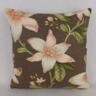 Brown Copper Peach Floral Cushion