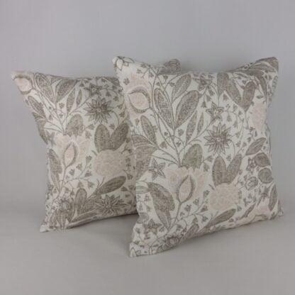 Schumacher Gloria Plaster Pink Floral Indienne Cushion