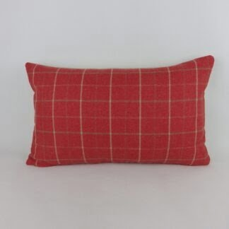 Red Linen Check Lumbar Cushion