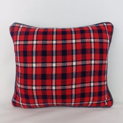 Red Blue Vintage Check Fabric Cushion