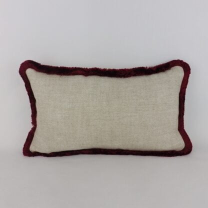 Red Fringed Natural Linen Cushion