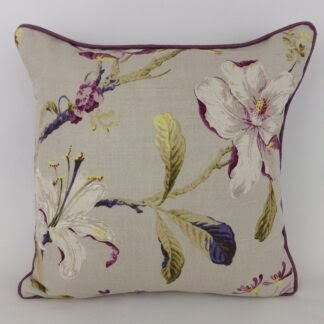 Purple Floral Linen Cushion