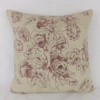Purple Floral Linen Cushion