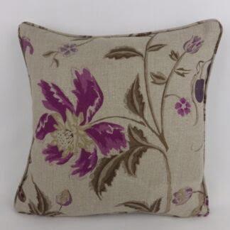 Natural Purple Floral Linen Cushion