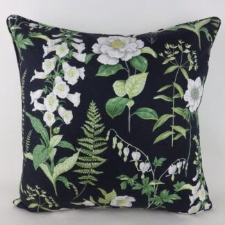 Green Black Cottage Garden Floral Cushion