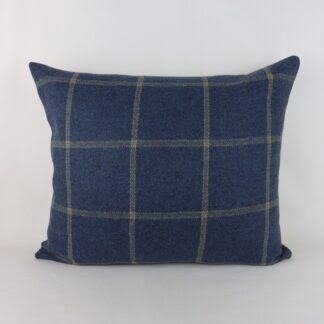 Colefax & Fowler Lanark Plaid Blue Wool Cushion