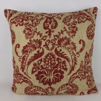 Large Rustic Red Damask Natural Linen Cushion