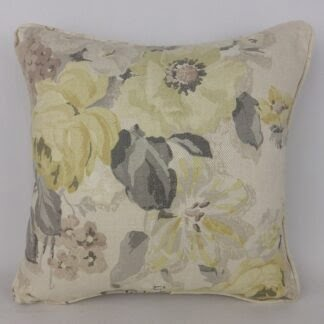 Faded Yellow Grey Rose Floral Cushions