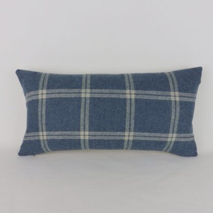 Blue Wool and Linen Check Cushion
