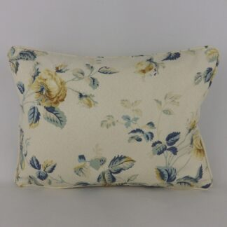 Blue Vintage Trailing Roses Lumbar Cushion