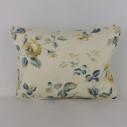 Blue Vintage Trailing Roses Lumbar Cushion