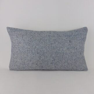 Blue Herringbone Wool Tweed Cushion