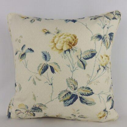 Blue Vintage Trailing Roses Cushion