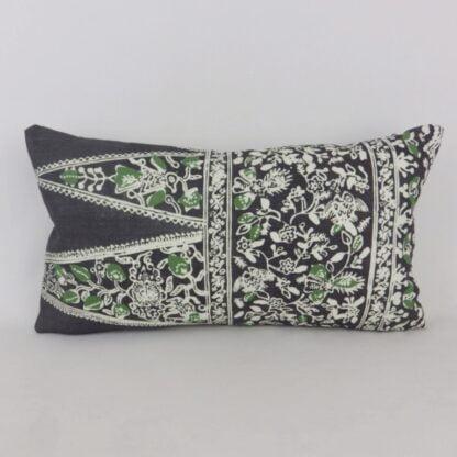 Black Green Indienne Bolster Cushion
