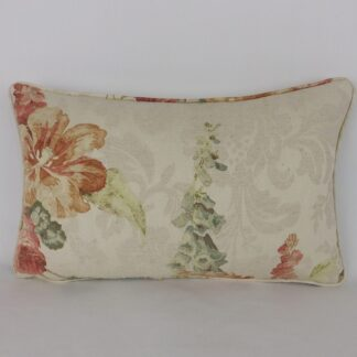 Natural Linen Faded Floral Bolster Cushion
