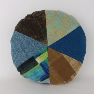 Blue Green Round Patchwork Cushion