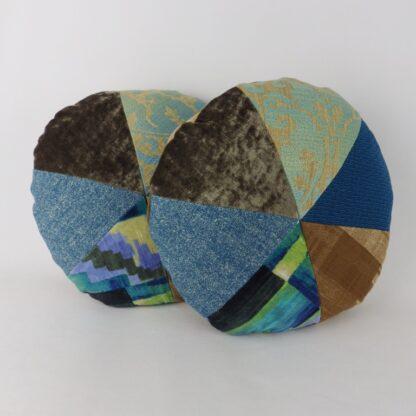 Blue Green Round Patchwork Cushion