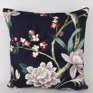 Dark Navy Blue Floral Cushions