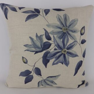 Blue Natural Linen Floral Cushion