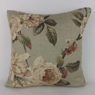 Peony Rose Floral Grey Linen Cushions