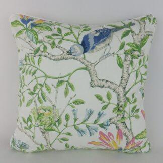Bright Green Blue Floral Bird Cushion