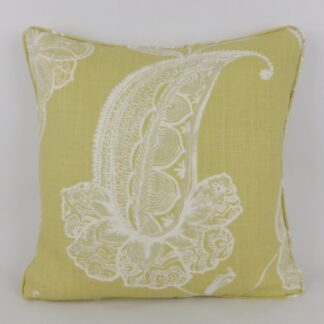 Yellow Paisley Leaf Linen Cushion