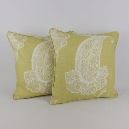 Yellow Paisley Leaf Linen Cushion