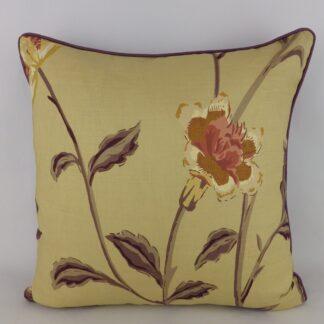 Large Gold Purple Designer Floral Cushion