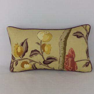 Large Gold Purple Designer Floral Bolster Cushion