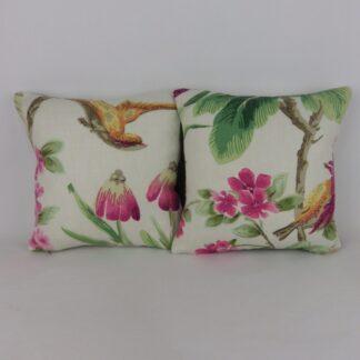Pair of Green Pink Bird Floral Cushion