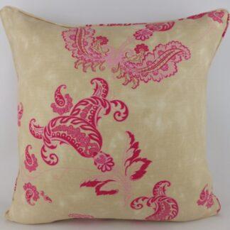 Large Pink Paisley Cushion